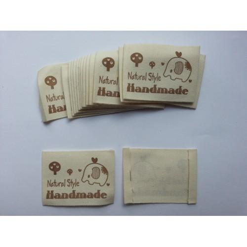 Бирка Hand made из ткани для рукоделия