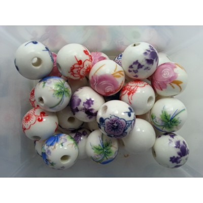 Бусины керамические Цветочки 12 мм в ассортименте