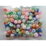 Бусины акрил разноцветные Полоски 6 мм