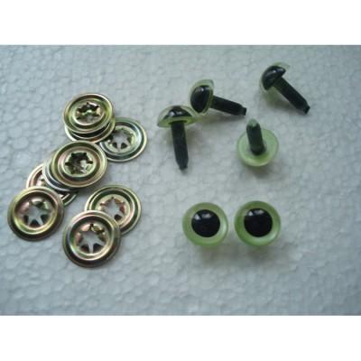 Глазки кукольные живой взгляд с металлическим фиксатором цвет зеленый