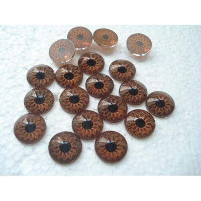 Глазки кукольные коричневые клеевые 12 мм
