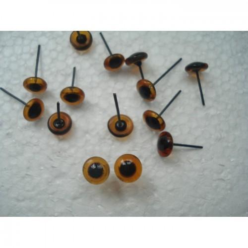 Глазки для игрушек стеклянные карие 7 мм