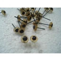 Глазки для игрушек стеклянные светло-карие 7 мм