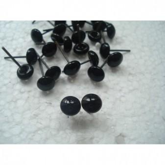 Глазки для игрушек стеклянные черные 7 мм