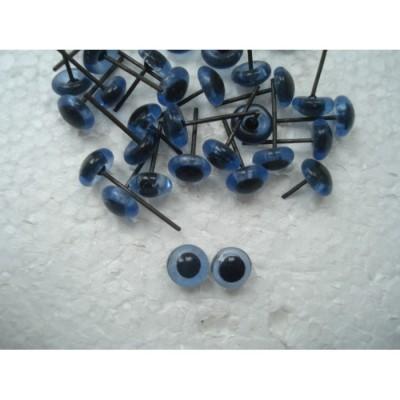 Глазки для игрушек стеклянные голубые 3 мм