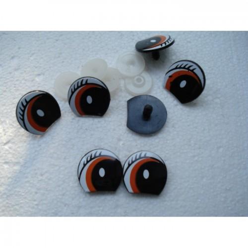 Глазки кукольные черные с фиксатором
