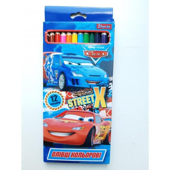 Карандаши разноцветные 12 цветов Cars