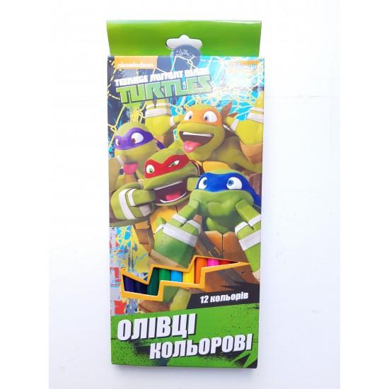 Карандаши разноцветные 12 цветов Turtles
