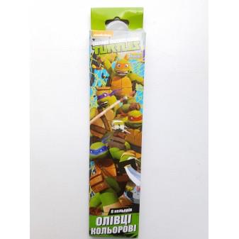 Карандаши разноцветные 6 цветов Turtles
