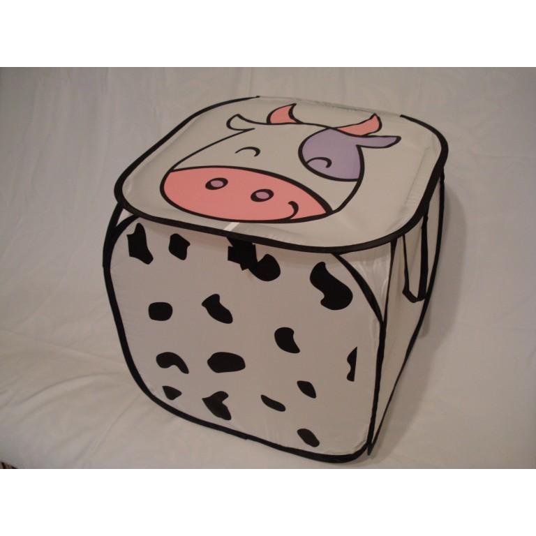 Корзина для игрушек квадратная белая коровка