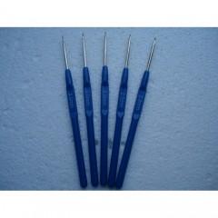 Крючки с синей пластиковой ручкой для вязания поштучно от 1 до 3.5 мм