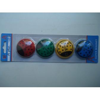 Магнитный крепеж для бумаги божья коровка разноцветная 4 шт диаметр 4 см