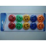 Магнитный крепеж для бумаги смайлик разноцветная 10 шт