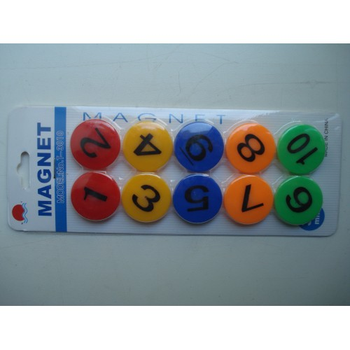 Магнитный крепеж для бумаги цифры разноцветная 10 шт