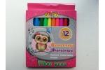 Фломастеры для досок на водной основе цветные CUTE LITTLE OWL Kidis в картоне 12 цветов