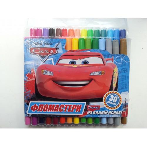 Фломастеры для досок на водной основе цветные Cars в наборе 30 цветов