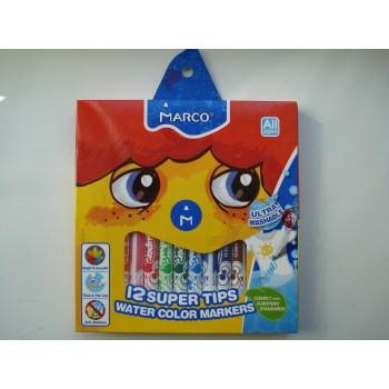 Фломастеры для досок на водной основе цветные Marco Super Washable в наборе 12 шт