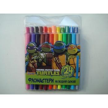 Фломастеры для досок на водной основе цветные Ninja Turtles в наборе 24 шт