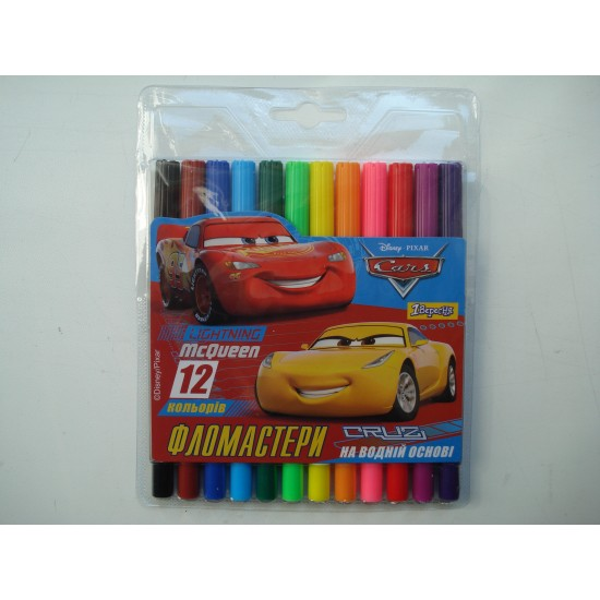 Фломастеры для досок на водной основе цветные Cars в наборе 12 шт