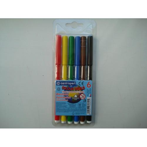 Фломастеры для досок на водной основе цветные Centropen в наборе 6 шт