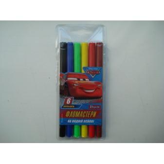 Фломастеры для досок на водной основе цветные Cars в наборе 6 шт