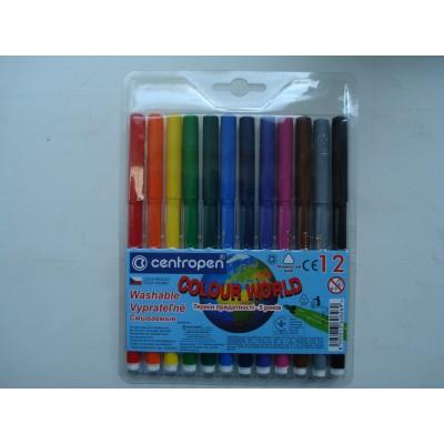 Фломастеры для досок на водной основе цветные Centropen в наборе 12 шт