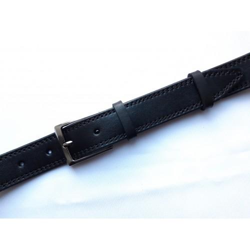 Ремень мужской кожаный черный с двумя строчками 3.5 см ширина
