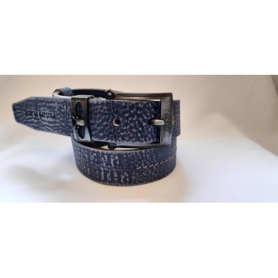 Ремень мужской кожаный синий коллекция PHILIPP PLEIN ширина 4 см длина 130 см Итальянская кожа