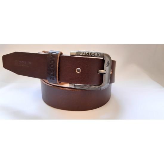 Ремень мужской кожаный коричневый коллекция LACOSTE ширина 4 см длина 130 см Итальянская кожа