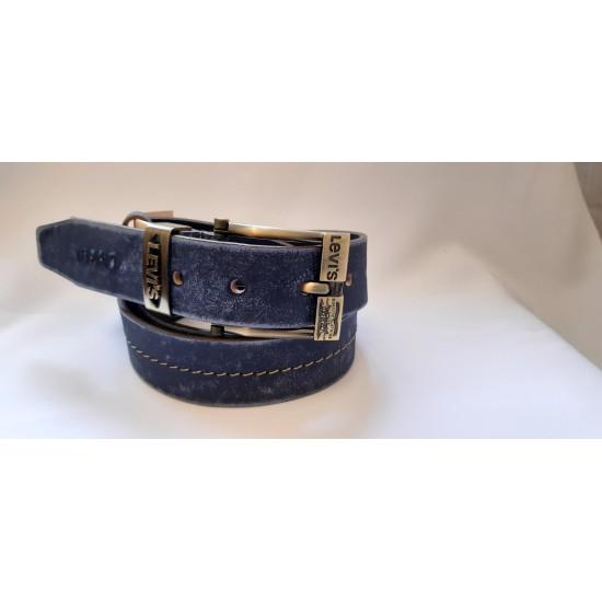 Ремень мужской кожаный синий коллекция LEVIS ширина 4 см длина 130 см Итальянская кожа