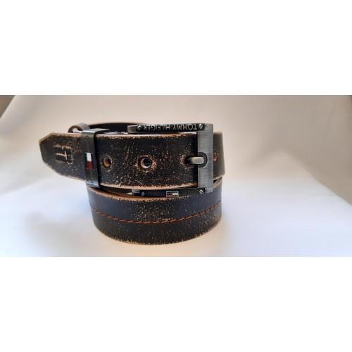 Ремень мужской кожаный коллекция TOMMY HILFIGER ширина 4 см длина 130 см Итальянская кожа