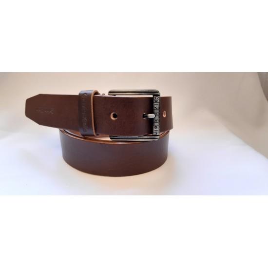 Ремень мужской кожаный коричневый коллекция CALVIN KLEIN ширина 4 см длина 130 см Итальянская кожа