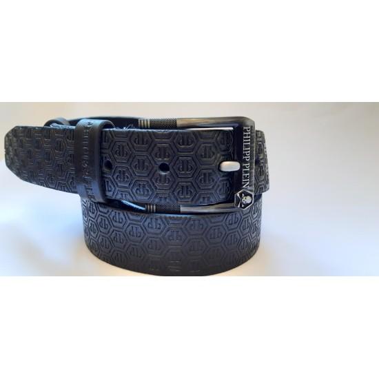 Ремень мужской кожаный черный коллекция PHILIPP PLEIN ширина 4 см длина 130 см Итальянская кожа
