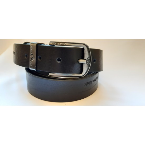 Ремень мужской кожаный черный коллекция CALVIN KLEIN ширина 4 см длина 130 см Итальянская кожа