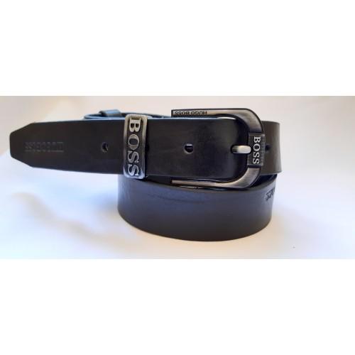 Ремень мужской кожаный черный коллекция BOSS ширина 4 см длина 130 см Итальянская кожа