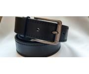 Ремень мужской кожаный черный с четырьмя строчками 4 см ширина 130 см длина