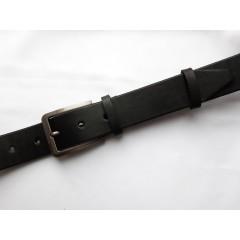 Ремень мужской батал кожаный черный 4 см ширина длина 140 см