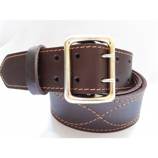 Ремень офицерский кожаный коричневый 5 см ширина длина 150 см