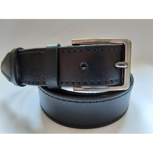 Ремень мужской кожаный черный с двумя строчками 4 см ширина 130 см длина