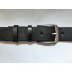 Ремень мужской кожаный черный 4 см ширина