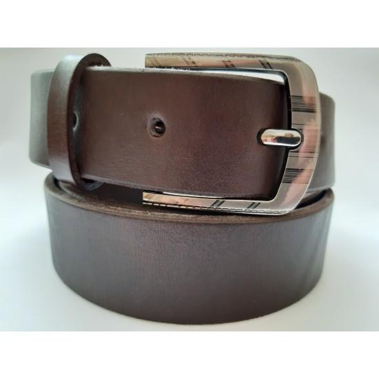 Ремень мужской кожаный коричневый 3.5 см ширина