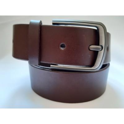 Ремень мужской кожаный коричневый 4 см ширина