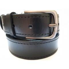 Ремень мужской кожаный черный со строчками 3.5 см ширина 130 см длина