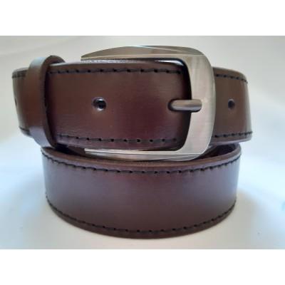 Ремень мужской кожаный коричневый со строчками 3.5 см ширина 130 см длина