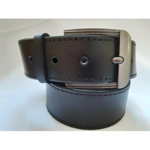 Ремень мужской кожаный черный со строчками 4.5 см ширина 130 см длина