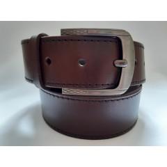 Ремень мужской кожаный коричневый со строчками 4.5 см ширина 130 см длина