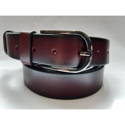 Ремень мужской кожаный коричневый 3.5 см ширина длина 130 см Итальянская коллекция JK