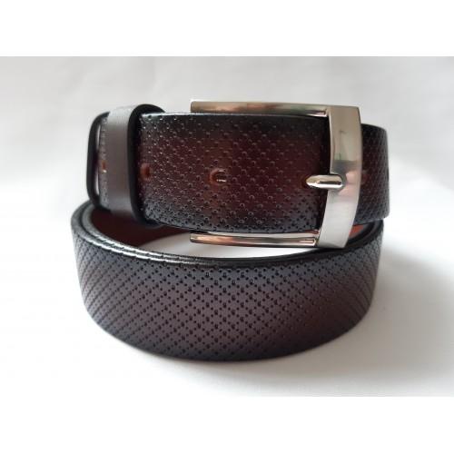Ремень мужской кожаный коричневый с узором 3.5 см ширина длина 130 см Итальянская коллекция JK
