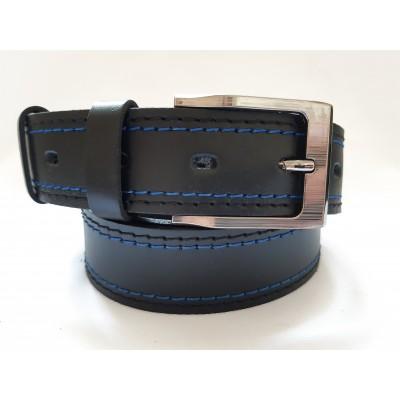 Ремень мужской кожаный черный с синей строчкой 3.5 см ширина 120 см длина