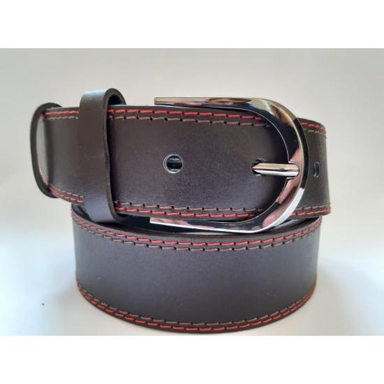 Ремень мужской кожаный коричневый с красной строчкой 4 см ширина 130 см длина